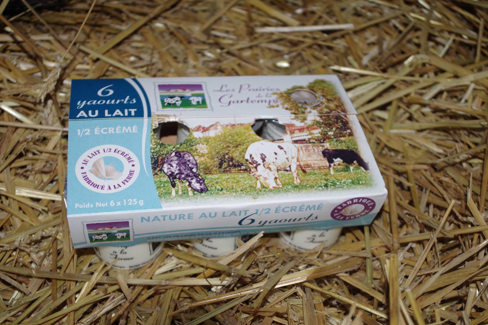 6 yaourts natures au lait 1:2 écrémé